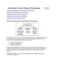 Sternberg Intelligence Sternberg S Triarchic Theory
