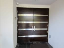white double front door. Exterior. Black Wooden And Glass Double Entry Doors With Stainless Steel Handles Connected By White Front Door 0