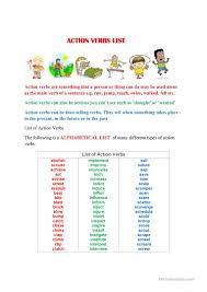 List Of Active Verbs Action Verbs List A To Z English Esl Worksheets