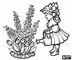 Kleurplaat Het Meisje En De Lentebloemen Kleurplaten