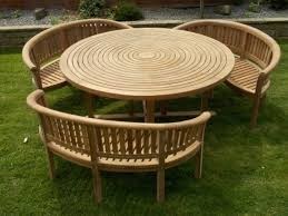 new teak round swirl table 180cm with 3 bowood benches kiln dried