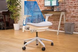 miller office chair. A Close Up Of The Herman Miller Sayl Office Chair With Blue Mesh Back And