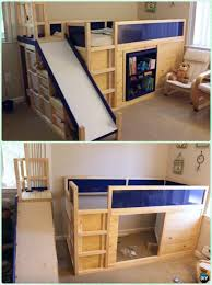 kids loft bed with slide. DIY Side Slide Bed Playhouse Instructions-DIY Kids Bunk Free Plans #Furniture Loft With D