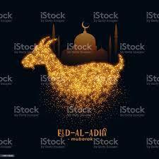 Eid Al Adha Gruß Mit Ziege Und Moschee Design Stock Vektor Art und mehr  Bilder von Arabeske - iStock