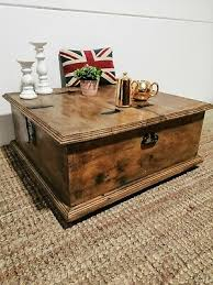 antique style pine trunk chest coffee