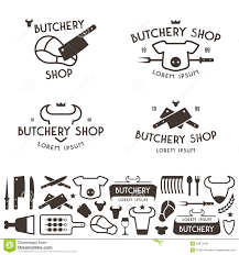 Templates For Logo Set Of Labels Templates And Logo Of Butchery Shop Stock