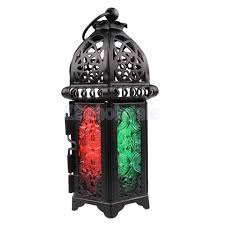 tabletop moroccan iron chandelier glass votive tea light candle holder black