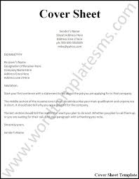 Resume Cover Sheet Free Resume Templates 2018