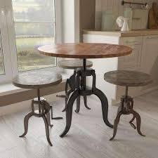 D Cast Iron And Natural Mango Adjustable Bar Table