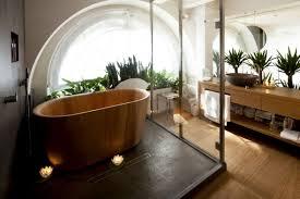 Bathroom Frameless Mirrors Japanese Bathroom Decor Head Shower Beside Stone Fence Wall