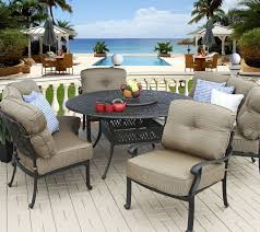 round outdoor dining sets. Elisabeth 5pc Deep Seating 4 Persons Dining Set With Curved Sofas, Club Chairs, 60\u201d Round Table Outdoor Sets