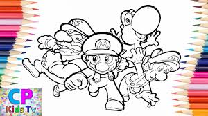 Super Mario Luigi Wario Yoshi Coloring Pageshow To Color Super