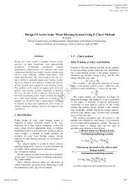 Pdf Design Of Active Solar Water Heating System Using F