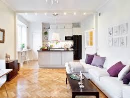 Kitchen:Open Plan Kitchen With White Living Room Also Chevron Wood Flooring  Open Plan Kitchen