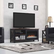 grainger electric fireplace insert home theater mantel in brown metal