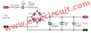 transformerless power supply circuit eleccircuit com circuit diagram of dc power supply not use transformer