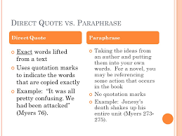 direct qoute d irect q uote vs p araphrase exact words lifted from a text uses