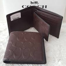 coach men wallet w compact id card wallet debossed patent leather