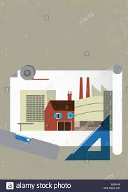 Illustration Board House Design Office Building House And Factory Plan On Architects