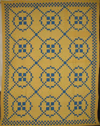 SURROUNDED (9-PATCH VARIATION) VINTAGE QUILT solid blue and yellow & BURGOYNE SURROUNDED (9-PATCH VARIATION) VINTAGE QUILT solid blue and yellow Adamdwight.com