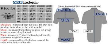 Footjoy Prodry Lisle Stripe Golf Shirts Size Chart