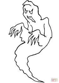 Scary Hallowen Ghost Coloring Page Free Printable Coloring Pages