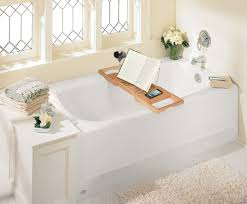 teak bathtub tray caddy for reading with wine and book holder plus phone storage for bathtub under window ideas