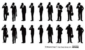携帯電話を掛けるビジネスマン シルエットデザイン