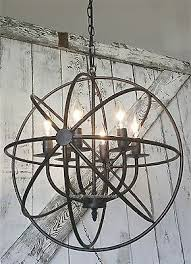 metal lighting. industrial round chandelier light fixture globe metal rustic armillary sphere lighting