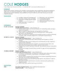Template For Teacher Resume Resume Template Teacher Resume Templates Free Career Resume Template 8