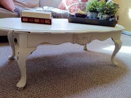 White Round Mid Century Style Wooden Chalk Paint Coffee Table