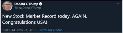 Us President Trump Tweets On The Wednesdays Us Stock Market