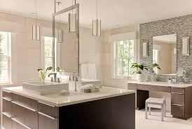 pendant lighting bathroom vanity. pendant lights illuminate the two sided vanity in this bathroom lighting