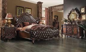 Queen Bed Bedroom Set Acme 21120q Versailles 4pcs Dark Brown Pu Cherry Oak Queen Bedroom Set