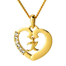 name necklace initial love heart pendant letter k 18k gold