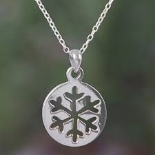 sterling silver snowflake pendant necklace from bali gleaming snowflake