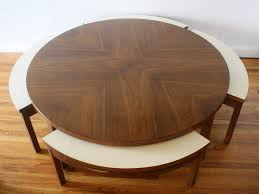 Mid century modern round game coffee table with 4 hidden chairs