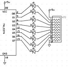 18 348 lab 2 schematic figure 2 circuit output connections in the resistor network each resistor is 470 ohms pin 2 provides d0 to bus pin 5 provides d1 etc