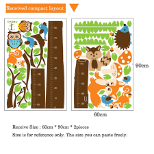 Us 8 92 20 Off Cartoon Animals Squirrel Height Scale Tree Height Measure Wall Sticker For Kids Rooms Growth Chart Nursery Room Decor Wall Art In