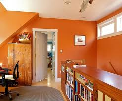 office colour design. Small Office In Baked Clay Orange Has A Bright, Cheerful Appeal [Design:  Joseph Colour Design P