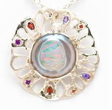 mabe pearl and opal sterling silver pendant