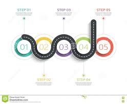 Winding Road Infographic Template With A Phased Structure Stock