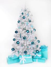 With a touch of Tiffany's.. so pretty! White Artificial Christmas Tree with  Clear