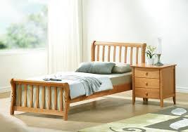 Railing Wooden Headboard Single Bed Design Beside Modern Nightstand