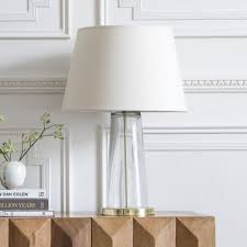 Kensington Hand Blown Glass Table Lamp In Brass With Linen Shade