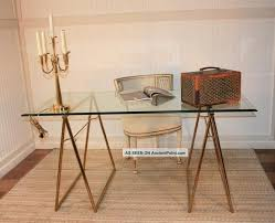 post glass home office desks. Sawhorse Glass Desk Mid Century Modern Brass Plated Top Table Post Home Office Desks
