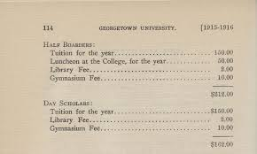 georgetown in an online exhibit from the university archives  fees and expenses for the college of arts and sciences as printed in the 1915 1916 catalog main group georgetown university