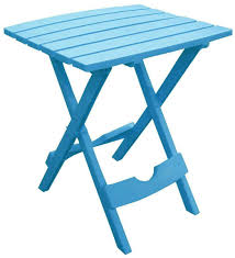 folding side table plastic portable small picnic outdoor garden camping blue new