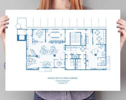 The office floor plan Warehouse Image Etsy Large The Office Floor Plan Poster The Office Blueprint The Etsy
