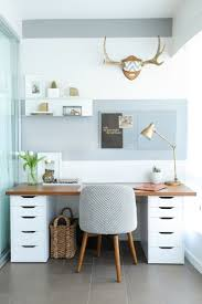home office desks for two. Balance A Wooden Board Across Two IKEA Storage Cabinets, And Boom\u2014you Have An Instant Desk With Plenty Of Room To Stash Your Office Supplies. Home Desks For